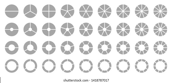 Set Of Different Round Graphic Pie Charts Gray