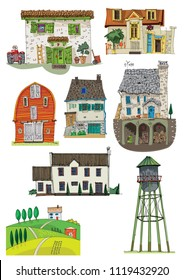 Set of different rural buildings. Typical village architecture. Cartoon. Caricature.