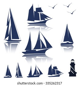 Set of different sailing ships icon