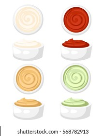 Set of different sauces ceramic dip bowl, filled mayonnaise, sweet chilli sauce, mustard, ketcup, guacamole, barbecue. carry wasabi  White background. Vector illustration