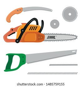 Set of Different Saws. Hand saw. Chainsaw. Circular Saw. Vector Graphics to Design.