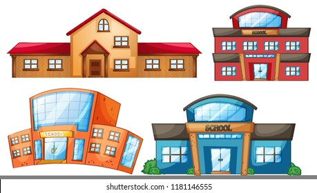 A set of different school building illustration