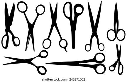set of different scissors
