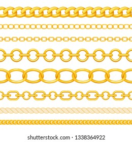 Set of different seamless gold chains isolated on white background. Golden chains brush for your design. Vector illustration.