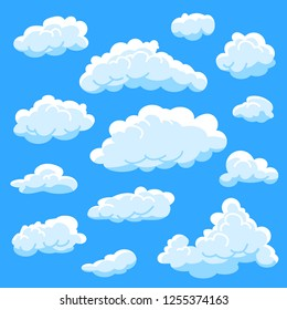 Set of different shape cartoon white clouds on blue background, cloudy sky, vector illustration