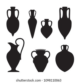Set or different shape greek and roman amphoras silhouettes,