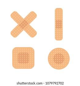 Set of different shape medical bandages. First aid band plaster strip. Flat design medical patch icon. Vector illustration