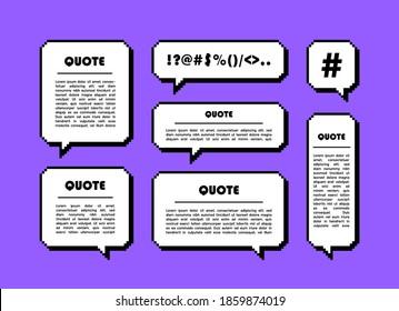 Set different shape pixel speech bubble. Geometric texting dialogue boxes. Colored quote box speech bubble. Modern vector illustration.