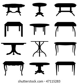 Set of Different Shape of Tables Silhouettes.  Elegant Royal Baroque Style and Modern Designs. High Detail and Very Smooth. Vector illustration.