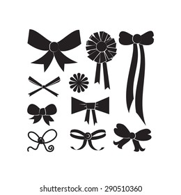 Set of different shapes of bows