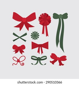Set of different shapes of bows in red and green colors