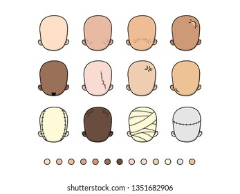 Set of different shapes of cartoon heads. Avatar generator.