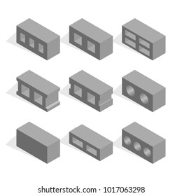 Set of different shapes cinder blocks, view to the left. Elements of the design of building materials. Flat 3d isometric style, vector illustration.