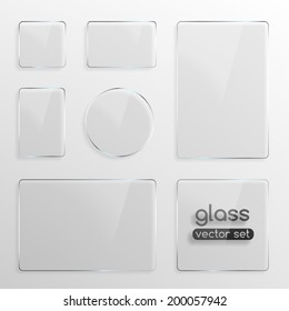 Set of different shapes glass plates . Photo realistic vector illustration