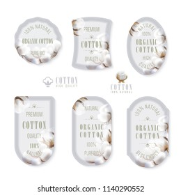 Set of different shapes of labels with photo realistic cotton balls on a light grey background and text hundred percent natural organic cotton and best choice, high quality, pure bio, premium.