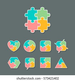 Set of different shapes made of jigsaw puzzle pieces, design elements for your logo or icon, vector illustration