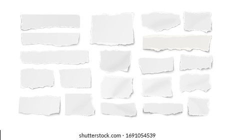 Set of different shapes ripped paper tears isolated on white background. Vector illustration.