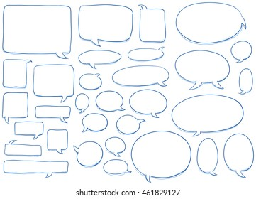 Set of different shapes and sizes of speech bubbles, round, oval, square.  Hand drawn cartoon doodle vector illustration.