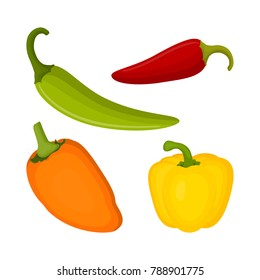 set with different sharp and sweet peppers, background with multicolored peppercorns