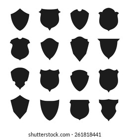 Set of different shield shapes. Vector illustration.