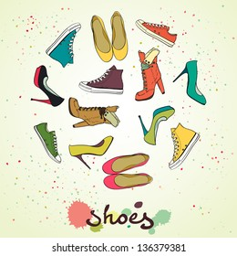 Set of different shoes in circle. Round shape made of high heel shoes, boots, flat shoes and sneakers. Hand drawn vector illustration.