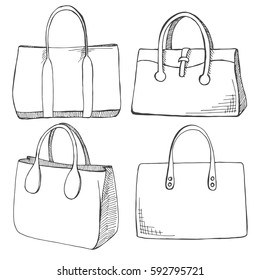 Set of different shopping bags isolated on white background.Vector illustration in sketch style.