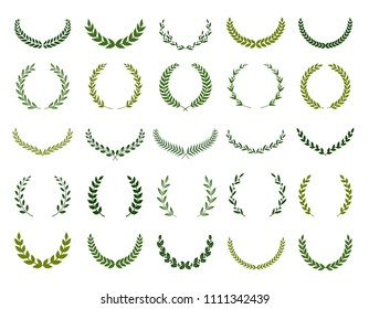 Set of different silhouette circular laurel foliate, olive and oak wreaths depicting an award, achievement, heraldry, nobility. Vector illustration.