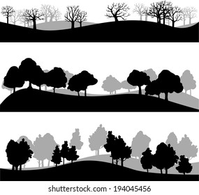 set of different silhouettes of landscape with trees, vector illustration