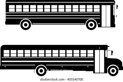 Set of different silhouettes school buses isolated on white background in flat style. Vector illustration. Silhouette illustration two variants of classic school buses on white background.