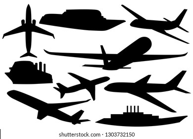 set of different silhouettes of ships and aircraft, illustration isolated on white background