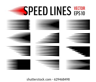 Set of different simple black vector speed lines