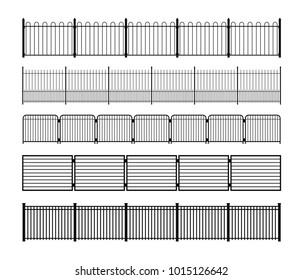 Set of different simple modular metal fence silhouettes. Horizontally seamless metal fence elements. Black fencing silhouettes from construction metal, wrought iron or steel. Vector brushes included.
