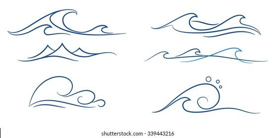 Imágenes, fotos de stock y vectores sobre Ocean Waves Line