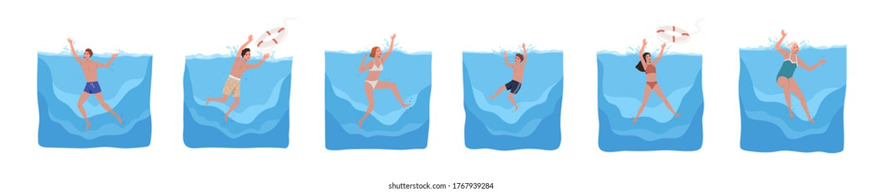 Set of different sinking people vector flat illustration. Collection of man, woman and child in swimwear drowning in water isolated on white. Scared person trying survive splashing or catch lifebuoy