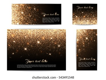 Set of different size banners with highlights on a black background