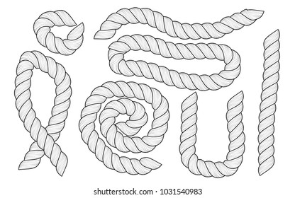 Set of different size and shapes white ropes are isolated on white background.