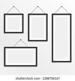 set of different sizes hanging photo frame