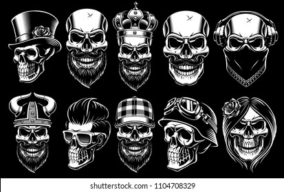 Set of different skulls. Shirt designs, badges, stickers with viking, king, gentleman, barber, biker and other. Isolated black and white illustrations.