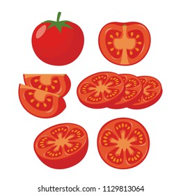 Set of different slices tomatoes vector