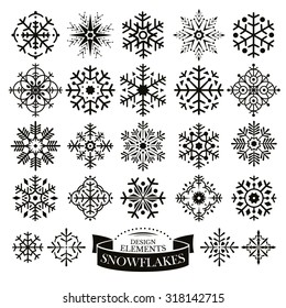 Set of different snowflakes vector illustration