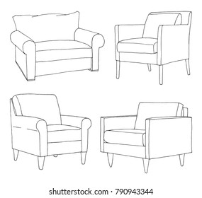 Set of different soft armchairs. Linear sketch. Vector illustration.