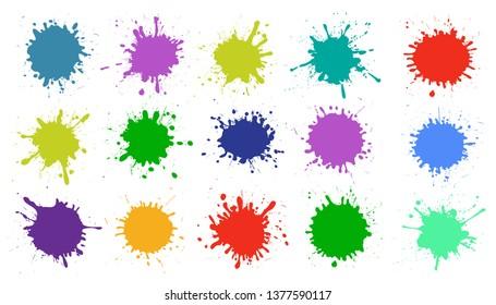 Set different splash, brush strokes – vector