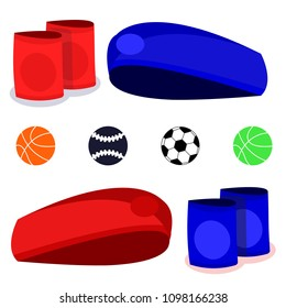 Set of different sport ball with wristband, headband for player. Flat vector illustration icons on white. sport ball. Basketball, baseball, soccer, football, big tennis.Sport player set. Accessories