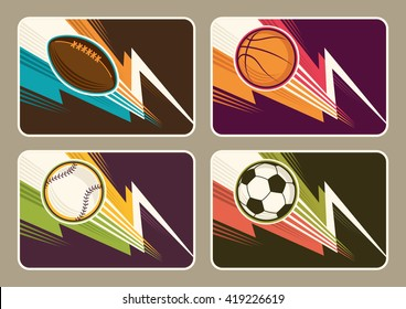 Set of different sport illustrations. Vector illustration.