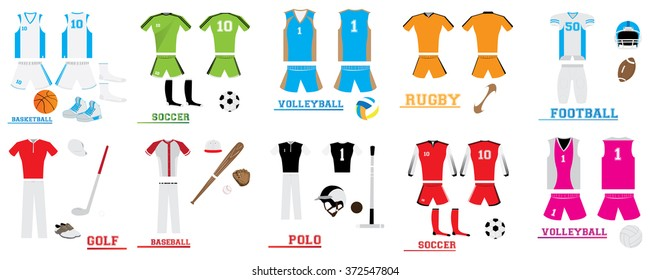 Set of different sport uniforms with different sport balls on a white background