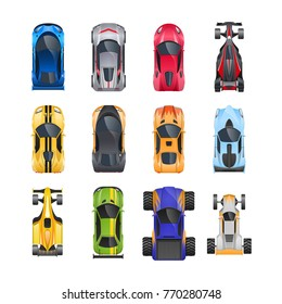 Set of different sports and racing cars, different colors, characteristics, types. Racing, trip around city, travel. Passenger car vehicle, top view. Vector flat illustration.