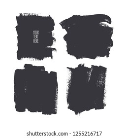 Set of different square brush strokes. Hand-drawn illustration