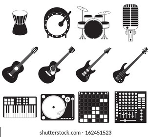 Set of different stage music instruments.