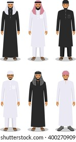 Set of different standing arab men in the traditional muslim arabic clothing isolated on white background in flat style. Arab traditional muslim, arabic clothing, east dress. Vector illustration
