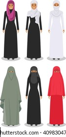 Set of different standing arab women in the traditional muslim arabic clothing isolated on white background in flat style.